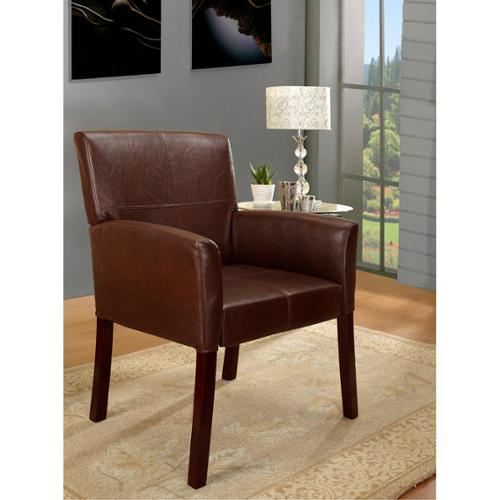 Brown Leatherette Classic Square-back Armchair by Overstock