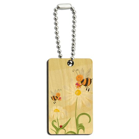 Bumble Bees and Ladybugs on Daisies - Flowers Wood Rectangle Key Chain