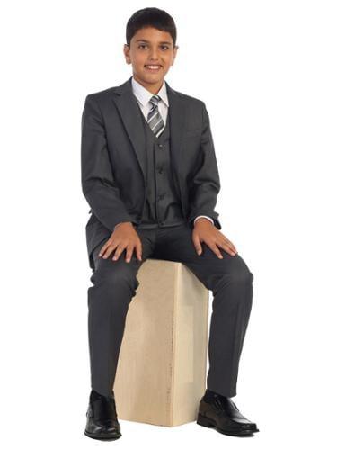 Little Boys Charcoal Vest Pants Jacket Necktie White Shirt 5 Pcs Suit Set 2-7