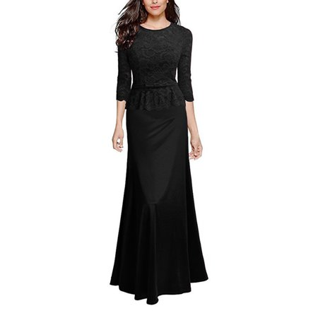 Formal Dresses for Women Evening Long Maxi Lace Crochet Wedding Bridesmaid Cocktail Pageant 3/4 Sleeve Prom Ball Gown Bridesmaid Womens Long Sleeve