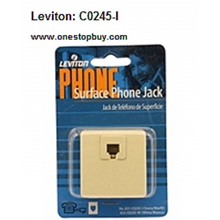 Leviton 831-C0245-I Ivory Surface Mount Phone Jack