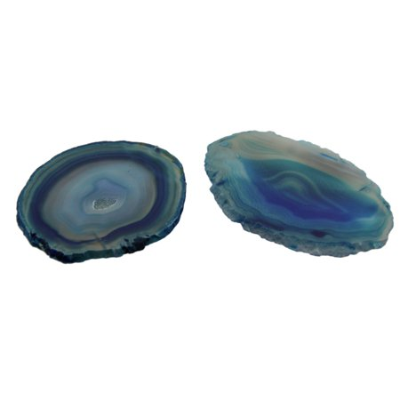 Pair of Teal Polished Brazilian Agate Slice Natural Edge Stone Coasters (Teal Coasters)
