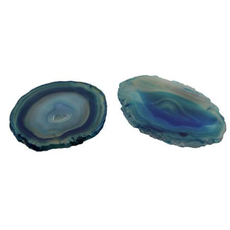 0.25 Slice - Teal Polished Brazilian Agate Slice Natural Edge Stone Coaster