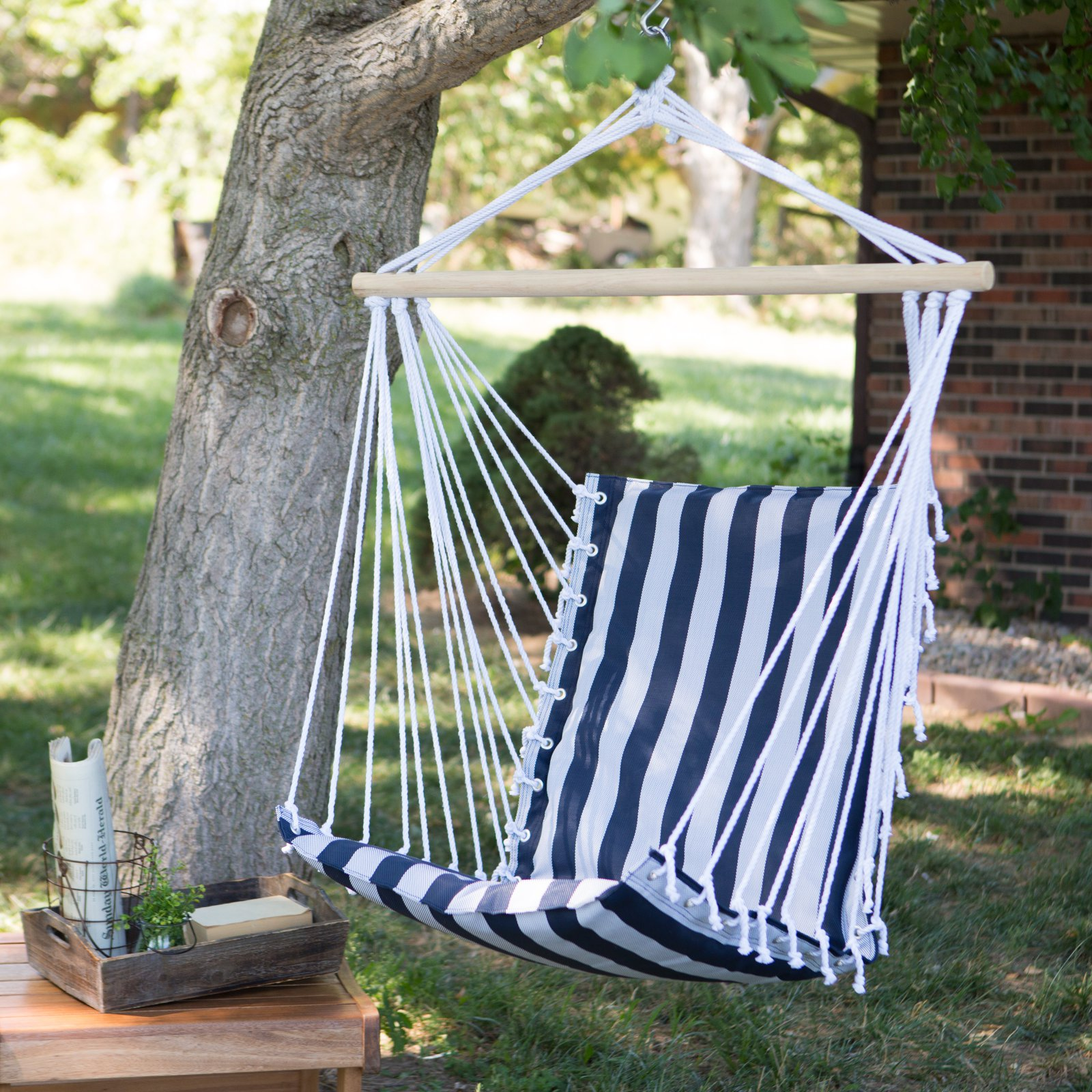The Ultimate Padded Mesh Hanging Hammock Chair - Navy Stripes
