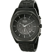 Mens Chronograph Stainless Watch - Black Bracelet - Black Dial - PT3521
