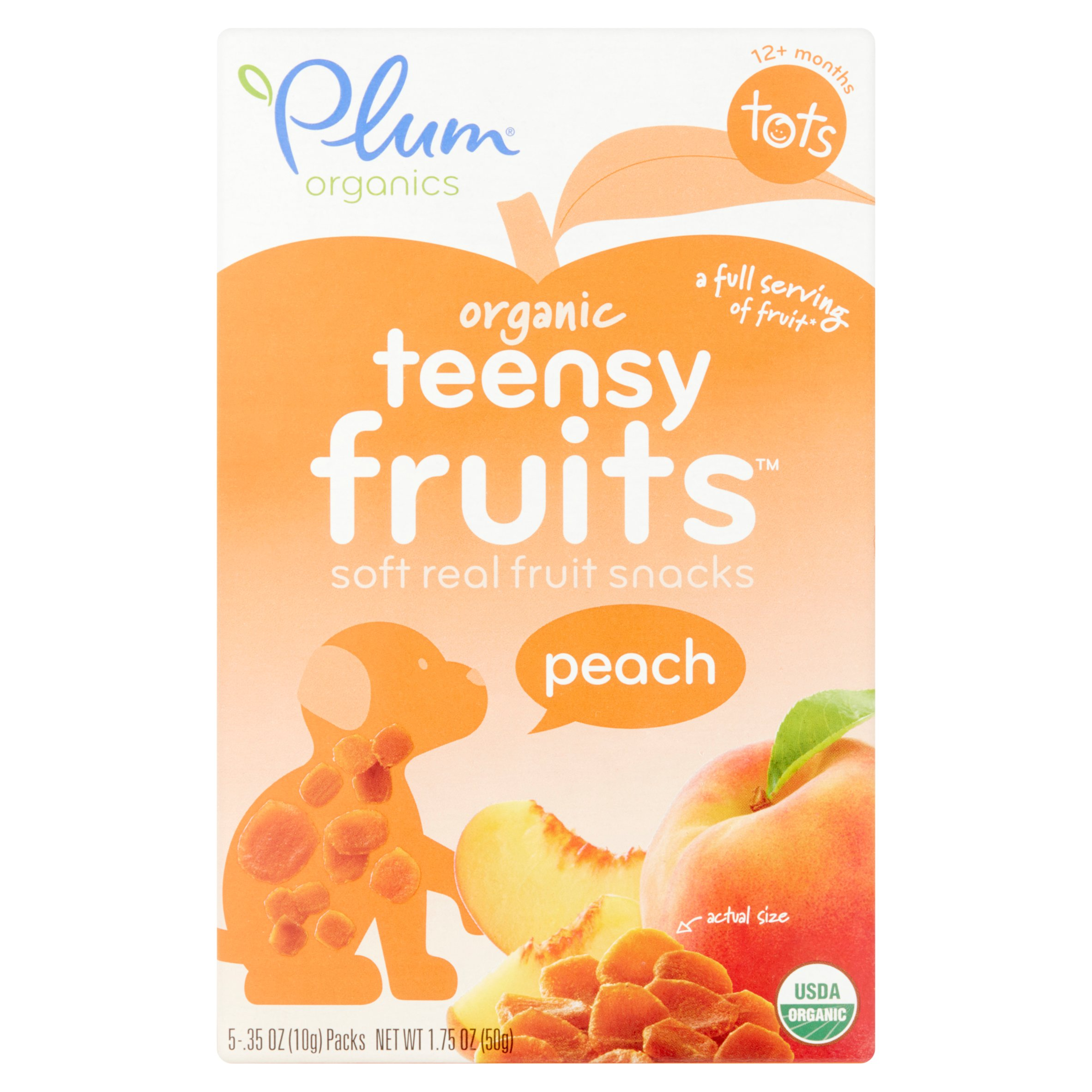 Plum Organics Teensy Fruits Peach Soft Real Fruit Snacks Tots 12+ Months, 5 count, .35 oz, 8 pack