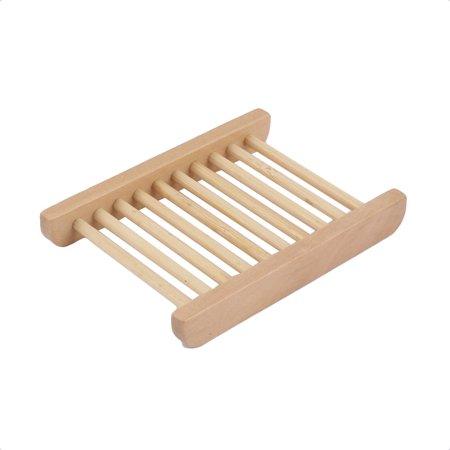 Bathroom Natural Wooden Shower Soap Holder Rack Strainer Tray 11.5 x 8.5cm - image 2 de 3