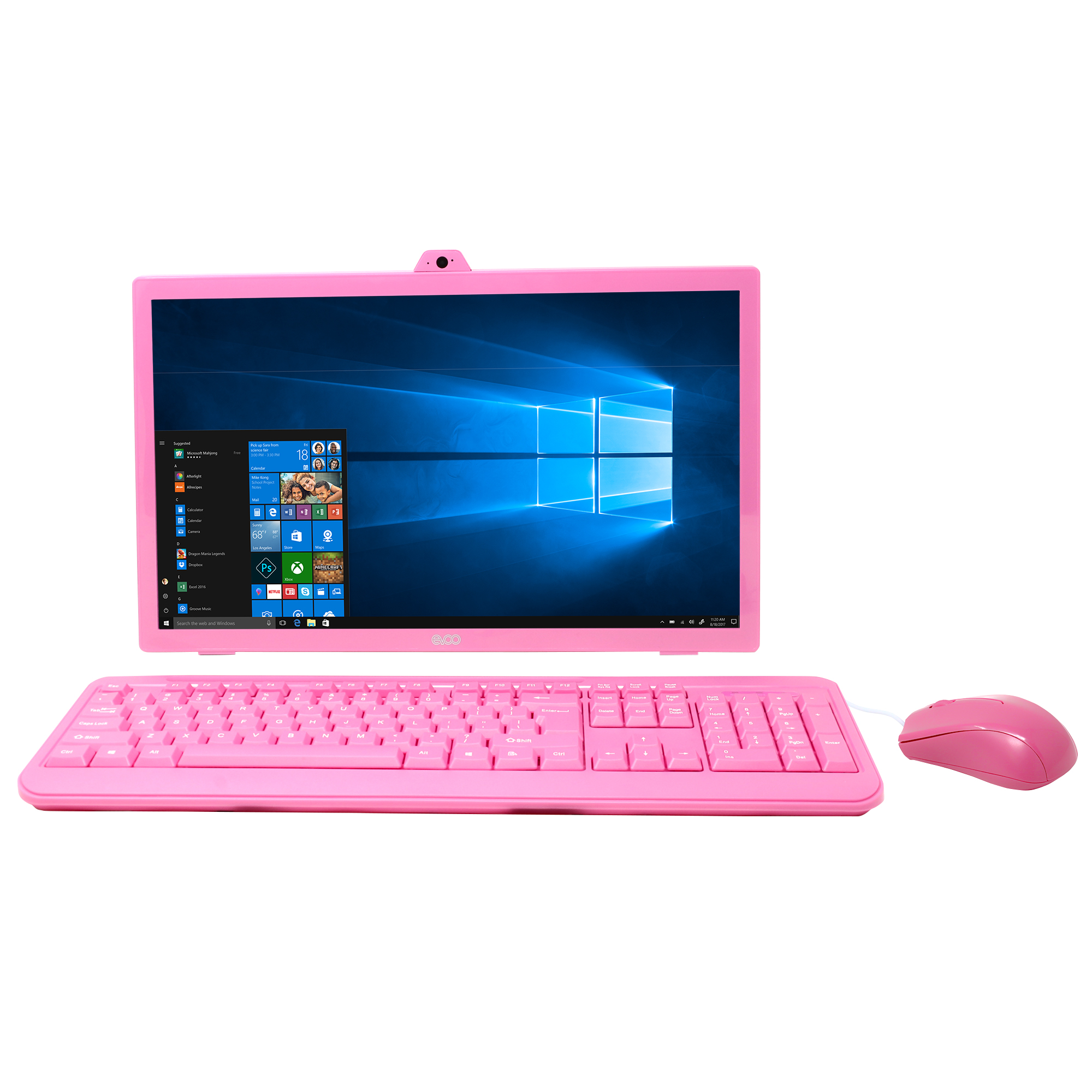 "EVOO 18.5"" All-in-One Desktop with Wired Keyboard and Mouse, Windows 10 Home, Quad Core, HDMI, Webcam, Pink"