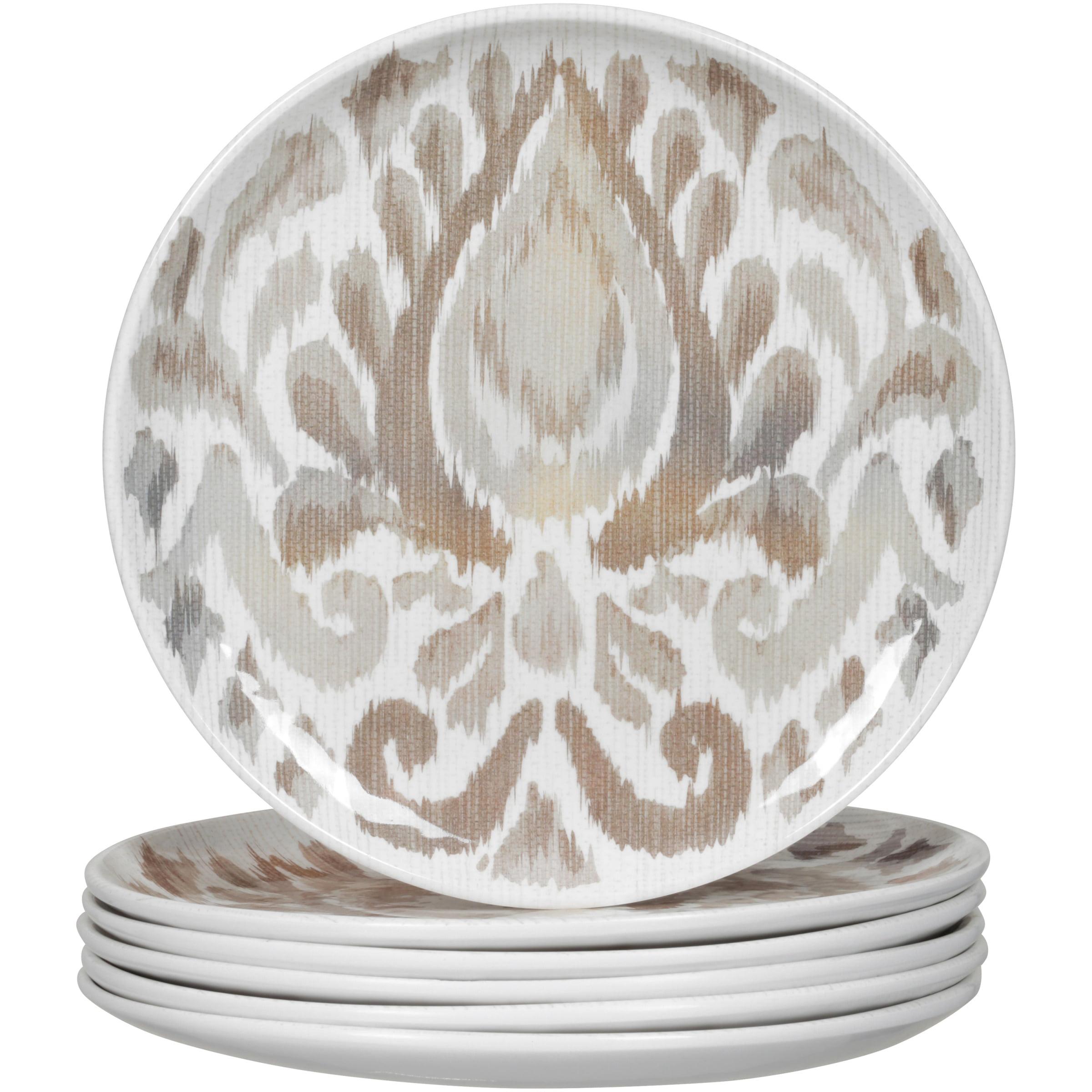 Better Homes & Gardens™ 6-piece Gray Ikat Melamine Salad Plate Set
