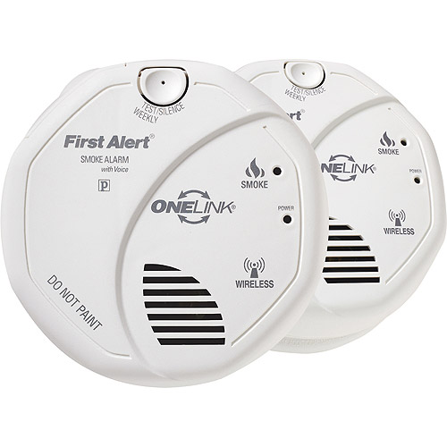 First Alert Onelink Wireless Battery Operated Smoke Alarm With Voice Location Twin Pack