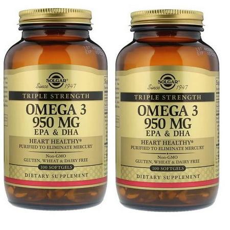 2 Bottles Solgar Triple Strength Omega 3 EPA & DHA 950 Mg, 100