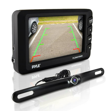 PYLE PLCM4375WIR.5 - Wireless Rear View Back-up Camera & Monitor Parking/Reverse Assist System, 4.3'' Display, Distance Scale Lines, Night Vision Waterproof Cam, Swivel Angle