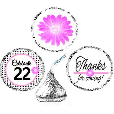 CakeSupplyShop Item#022BPH 22nd Birthday / AnniversaryPink Black Polka Dot Party Favor Hershey Kisses Candy Stickers / Labels -216ct - 22nd Birthday Ideas