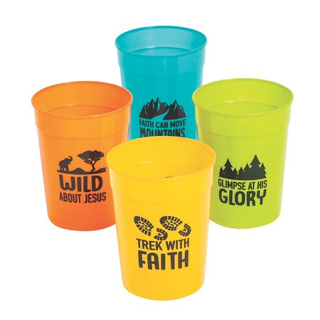 Fun Express - Wild Encounters Vbs Plastic Tumblers - Party Supplies - Drinkware - Re - Usable Cups - 12 Pieces (Vbs Supplies)