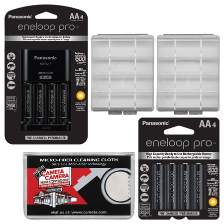 Panasonic eneloop Pro (4) AA 2550mAh Pre-Charged NiMH Rechargeable Batteries & Charger + (4) Extra AA Batteries + (2) Battery Cases +