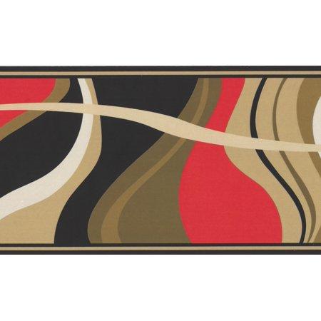 Block Wallpaper Border - Abstract Waves Red Beige Black Shades of Brown Wallpaper Border Modern Design, Roll 15' x 6
