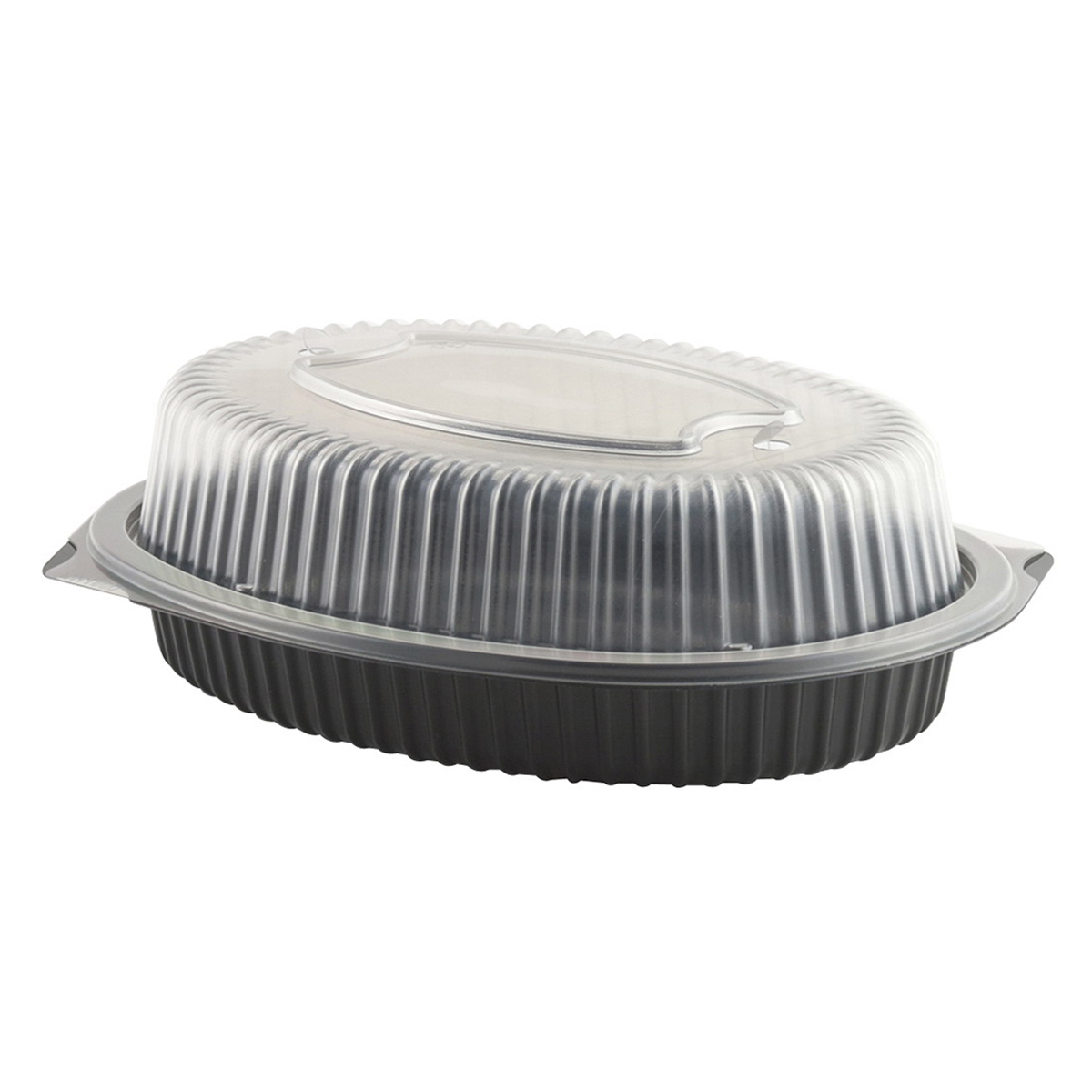 "Anchor Packaging Microraves Roaster Polypropylene Food Container Black/Clear, 10.7"" Length x 7.9"" Width x 3.6"" Depth 