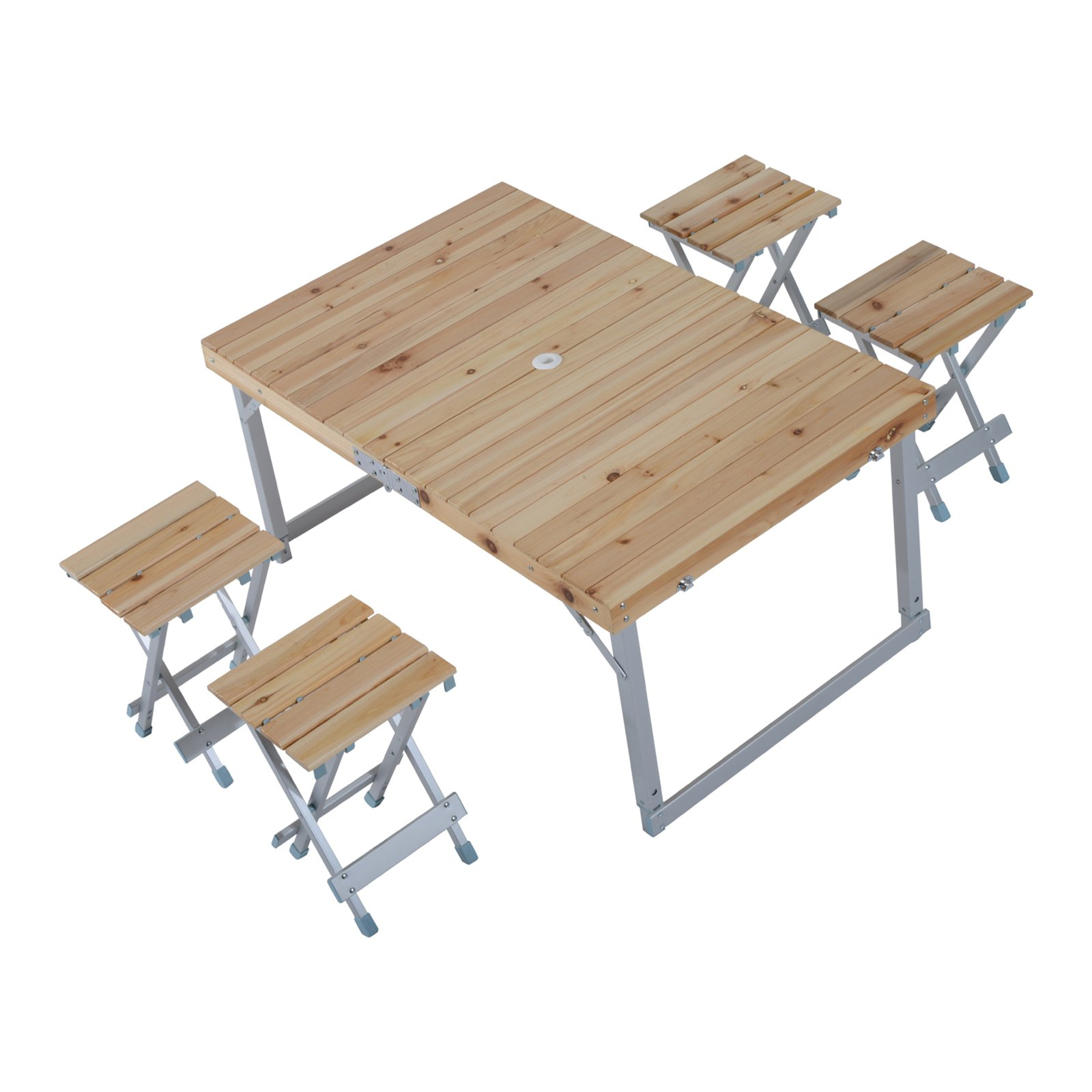 Outsunny Wooden Height Adjule Folding Outdoor Picnic Table Set