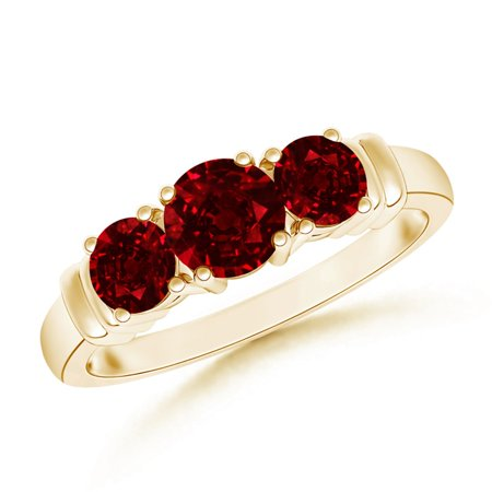 9b6f0f60592 Angara - July Birthstone Ring - Vintage Style Three Stone Ruby Wedding Band  in 14K Yellow Gold (5mm Ruby) - SR0347R-YG-AAAA-5-8 - Walmart.com