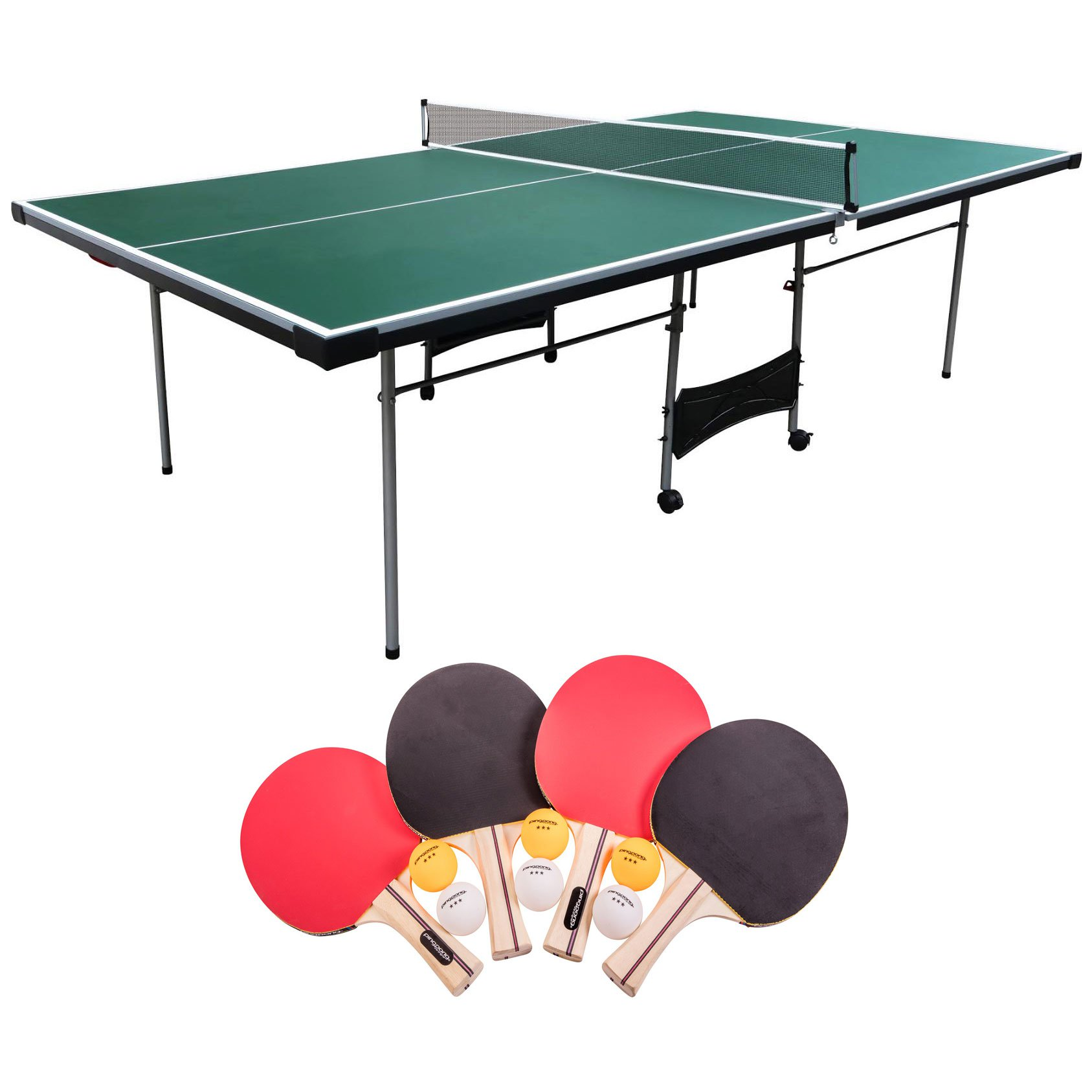 Lancaster 4 Piece Official Size Table Tennis Table w/ 4 Rackets and 6 Balls
