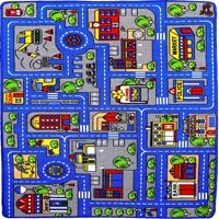"Mybecca Kids Rug Town Map 8' X 10 Childrens Area - Street Map Non Skid Backing (7'10"" X 11'3"")"