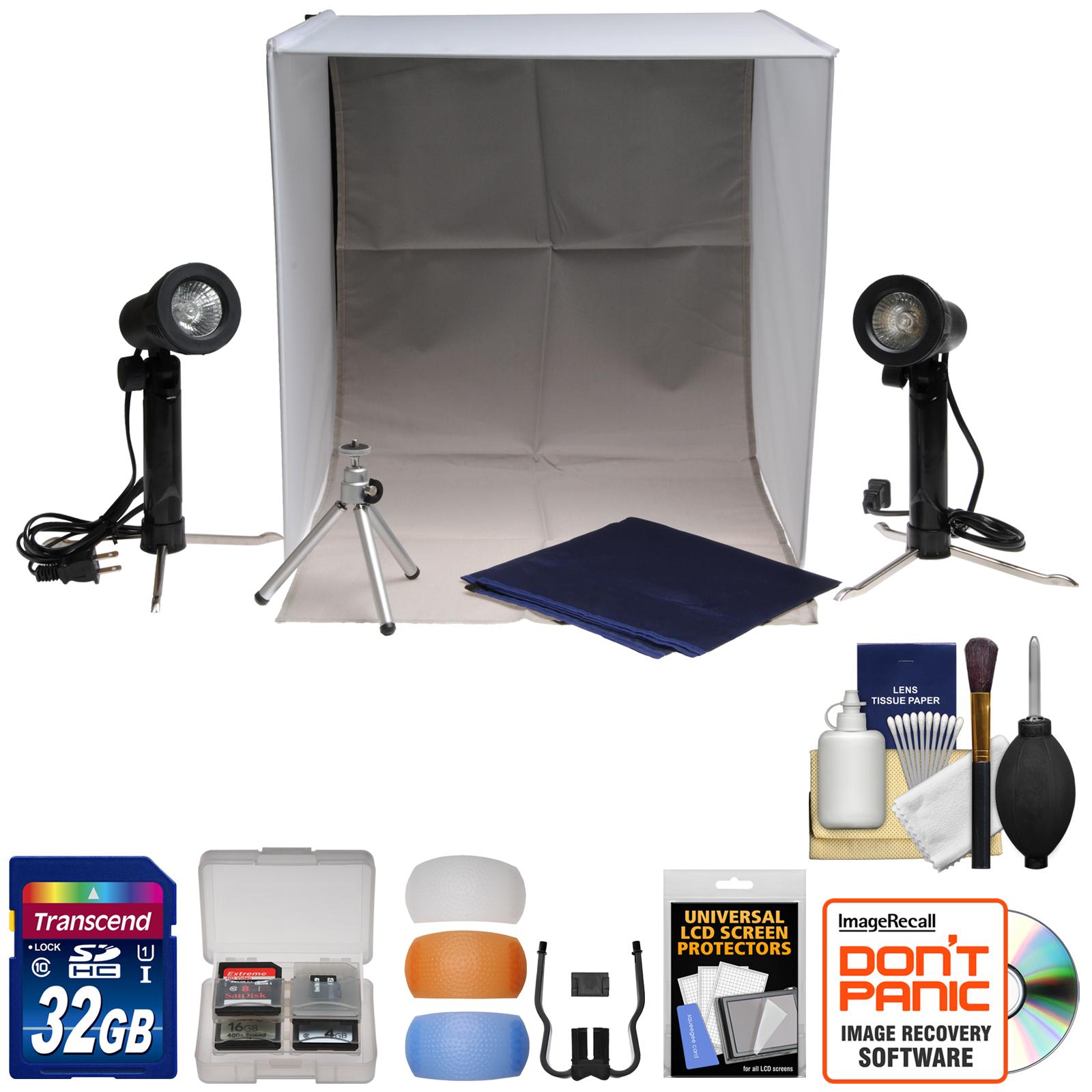 Iluminacion Para Camara XIT portátil caja de luz foto estudio con 2 fondos, 2 luces, trípode, maletín con difusores de Flash, tarjeta de 32GB + accesorio Kit + XIT en Veo y Compro