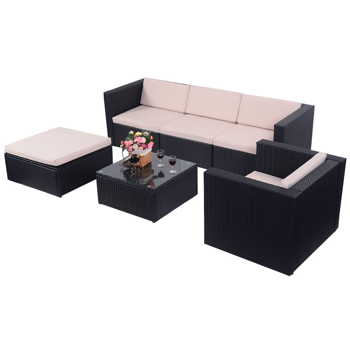 Costway 6 PCS Outdoor Patio Rattan Wicker Sectional Furniture Set Table Sofa Cushioned