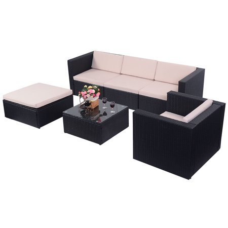 Costway 6 PCS Outdoor Patio Rattan Wicker Sectional Furniture Set ...