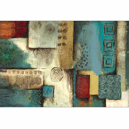 Traditional Abstract Tribal Pattern Panel Painting Blue   Tan Canvas Art By Pied Piper Creative