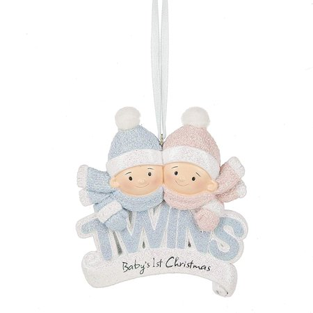 twin babies boy girl glitter first christmas 3 x 35 inch resin ornament - Baby Boy First Christmas Ornament