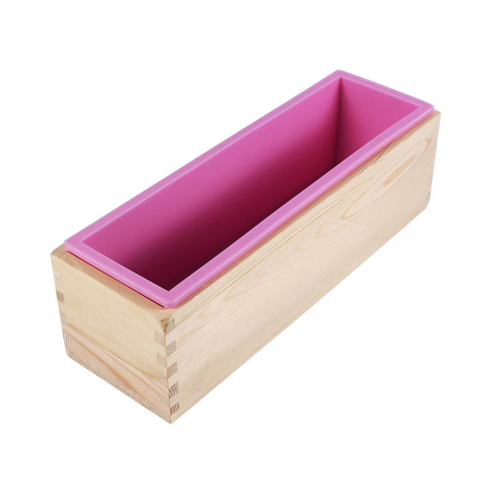 Click here to buy Rectangle Silicone Liner Soap Mould Wooden Box DIY Making Tool Bake Cake Bread Toast Mold.