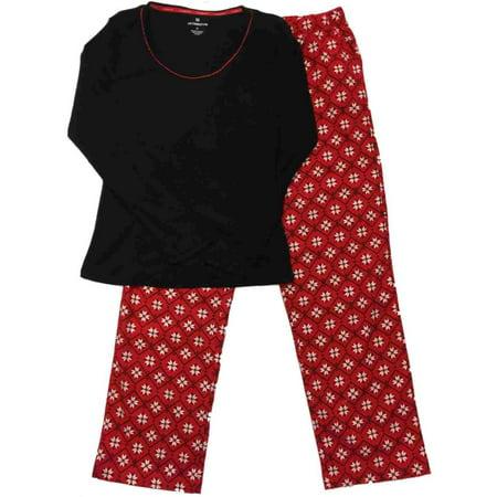 Liz Claiborne - Liz Claiborne Womens Red   White Nordic Snowflake Flannel  Pajamas Sleep Set - Walmart.com 4ca8966c0
