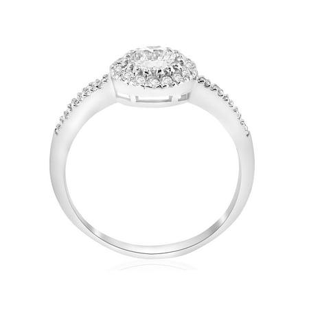 2 ct Round  Diamond Engagement Halo Wedding Ring Trio Set 14K White Gold - image 1 de 4