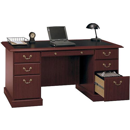 Bush Saratoga Double Pedestal Manager's Desk, Harvest Cherry