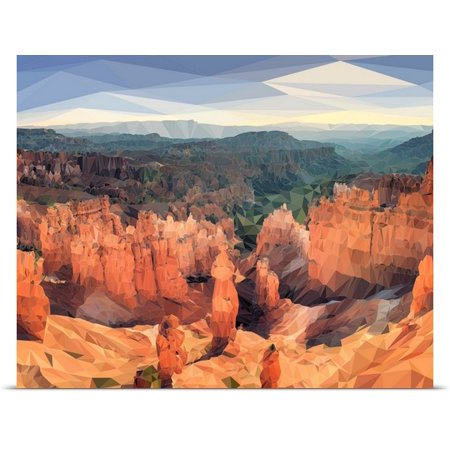 Great Big Canvas Circle Art Group Poster Print Entitled Bryce Canyon   Low Poly Art