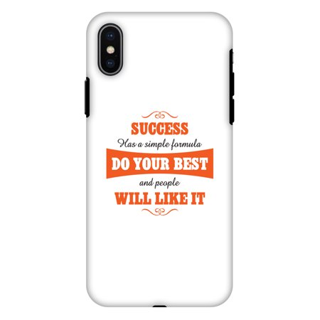 iPhone X Case, Premium Heavy Duty Dual Layer Handcrafted Designer Case ShockProof Protective Cover with Screen Cleaning Kit for iPhone X - Success Do Your Best, Flexible TPU, Hard