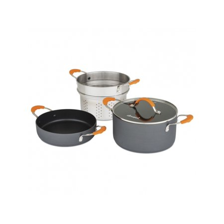 Image of Allrecipes 4 Piece Hard Anodized Non-Stick Cookware Kitchen Casserole Set