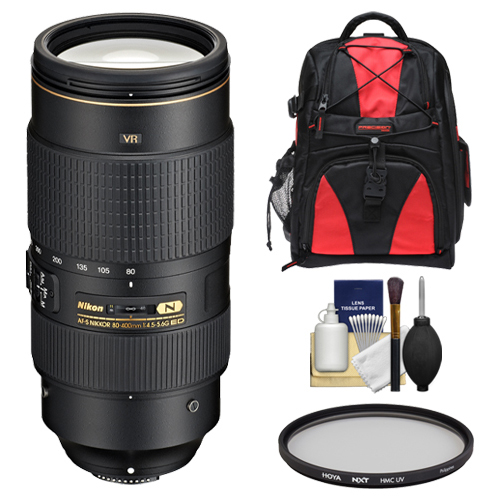 Nikon 80-400mm f/4.5-5.6G VR AF-S ED Nikkor-Zoom Lens with Backpack + UV Filter + Kit for D3200, D3300, D5300, D5500, D7100, D7200, D750, D810 Camera