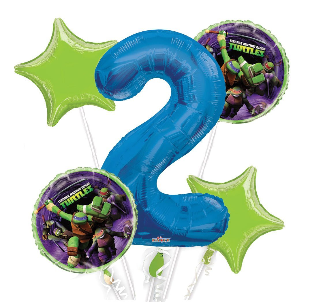 Ninja Turtles Balloon Bouquet 2nd Birthday 5 pcs - Party Supplies, 1 Giant Number 2 Balloon, 34in By Viva Party