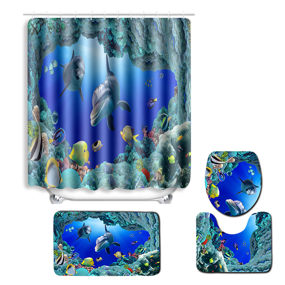 Lid Toilet Cover 3Pcs Ocean Dolphins Shell Non-Slip Pedestal Rug Bath Mat Set