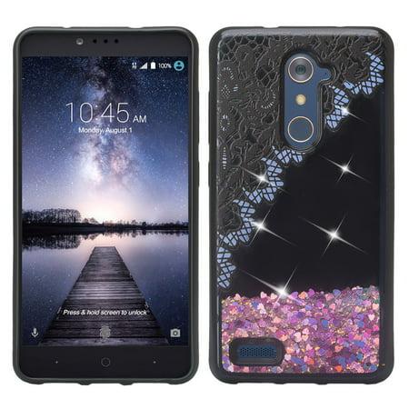 ZTE Zmax Pro Case, Luxury Bling Liquid Glitter Case, Sparkle Quicksand Case - Purple Lace - image 4 of 4