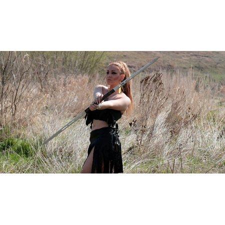 Canvas Print Woman Wild Blonde Warrior Beauty Sword Girl Stretched Canvas 10 x 14](Blonde Warrior)