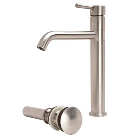 Fontaine  Brushed Nickel European Swivel Arm Vessel Sink Faucet and Drain Set Fontaine Brushed Nickel Vessel