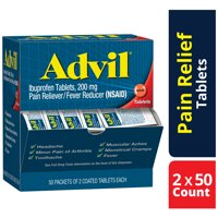 Advil Pain Reliever / Fever Reducer Coated Tablet Refill 2 by 50 Ct, 200mg Ibuprofen