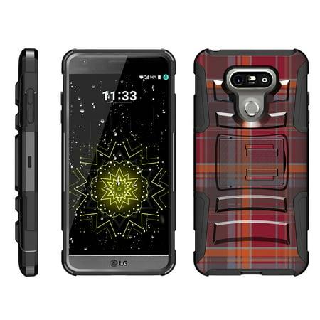Maroon Phone - TurtleArmor ® | For LG G6 | LG G6+ (Plus) [Hyper Shock] Hybrid Dual Layer Armor Holster Belt Clip Case Kickstand - Maroon Plaid
