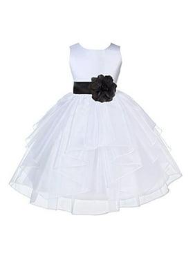 Ekidsbridal White Satin Shimmering Organza Formal Flower Girl Dresses Junior Bridesmaid Dress Special Occasion Dresses Communion Dress Baptism Dress Holiday Dresses Toddler Girl Dresses 4613S