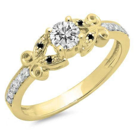 Dazzlingrock Collection 0.50 Carat (Ctw) 14K Black & White Diamond Bridal Engagement Ring 1/2 CT, Yellow Gold, Size 5