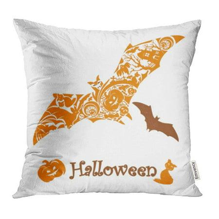 CMFUN Holiday Halloween Bat Autumn Black Candles Candy Cartoon Cat Celebration Pillow Case Pillow Cover 18x18 inch Throw Pillow Covers - Black Cat Halloween Candy