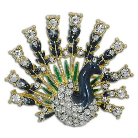 Peacock with Austrian Crystals Enamel Brooch (Buddy Gs Austrian Crystal)