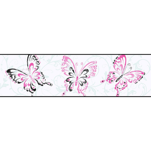 Butterfly and Scroll Wall Border, White/Black/Pink